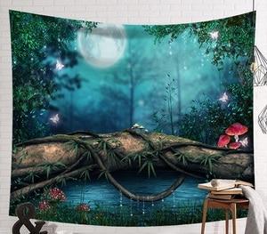 Image 4 - CAMMITEVER fantástico paisaje de cabaña en el bosque, luz verde, gran seta roja, colgante, estampado de salón, decoración de tapicería de pared