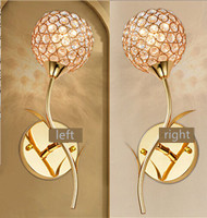 Free shipping minimalist modern crystal wall lamp Silver/gold bedside lamp Creative Arts Bedroom Living Light 2pcs/set