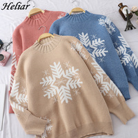 HELIAR Fashion Winter Christmas Snowflake Sweater Pullover Pull Femme Knitted Tops Women Casual Loose All Match New S