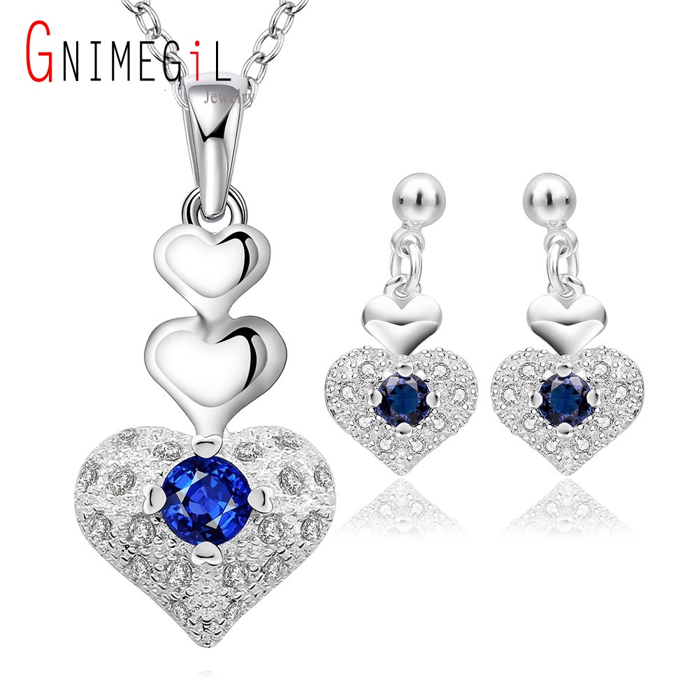 GNIMEGIL Brand Jewelry Fashion 925 Stamped Silver Noble CZ Zircon Heart Shape Necklace & Earrings Sets Women Engagement Jewelry