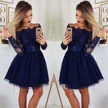 2019 Long Sleeves Lace A-Line Homecoming Dresses Tulle Applique Short Prom Cocktail Party Plus Size Vestidos De Festa