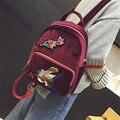 Estilos da forma Do Vintage mulheres Mochila de Viagem designer de marca famosa bordados Sacos de ombro Mochila Sacos de veludo com Flor 803