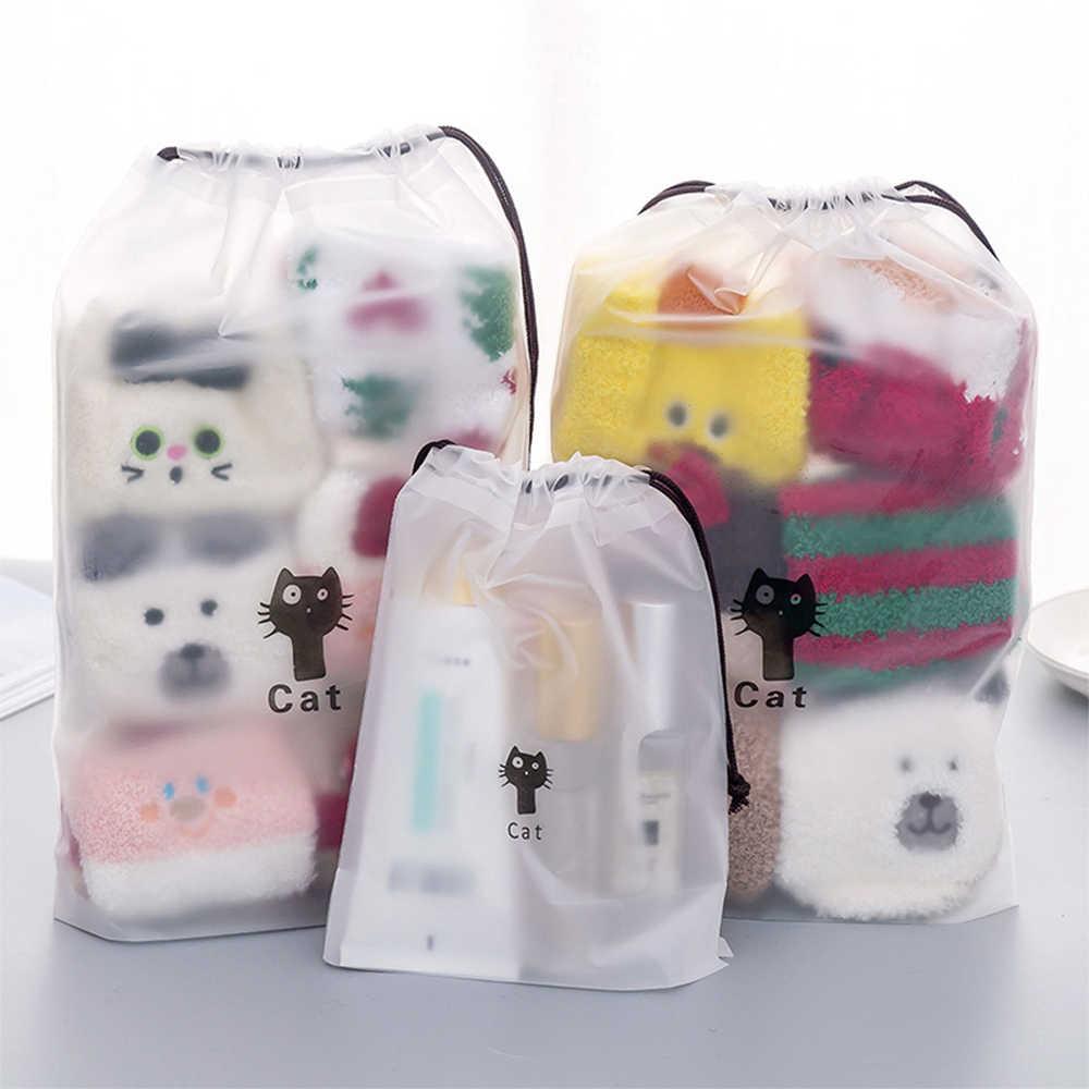 Cute Cat przezroczysta kosmetyczka podróżna kosmetyczka na produkty do makijażu sznurek makijaż torba ubrania bielizna pokrowiec bagażu organizator