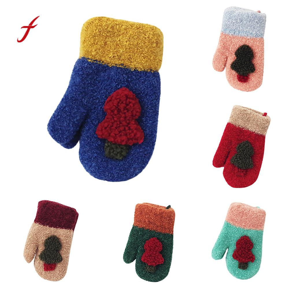 Cute Christmas Tree Warm Women Boy Girl Winter Gloves Gloves Mitten Gift Accessories Women Mittens  #4