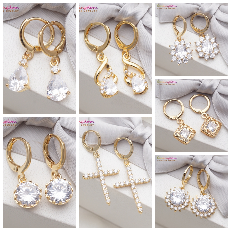 Yunkingdom Wedding Gold Earring White Cubic Zirconia Crystal Dangle/Drop Earrings for Women 7 Different Fashion Jewelry