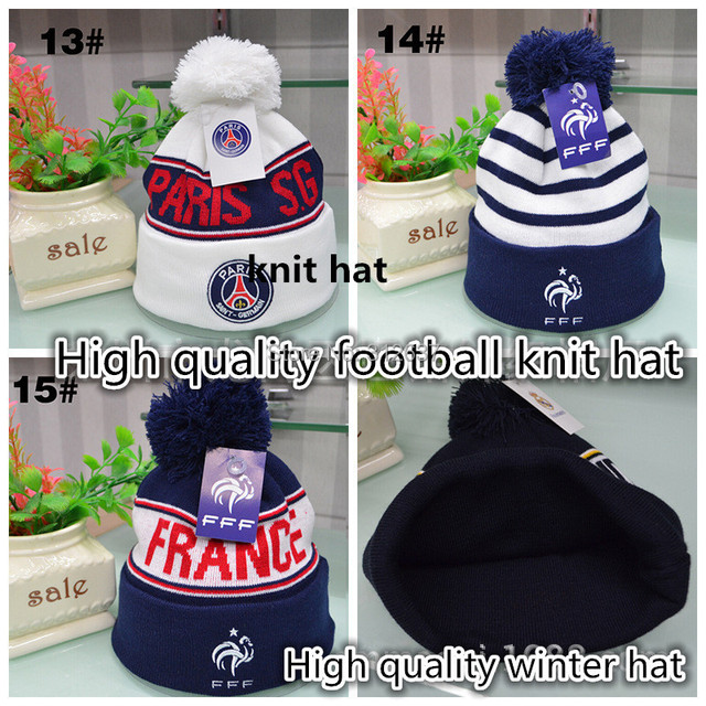 3fb28a90d54206 high quality France soccer psg fans Christmas gifts football badge winter  hats for men women AC Milan knitted cap Warm beanies