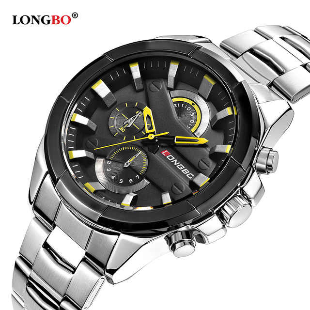 2019 LONGBO Fashion Watch Men Stainless Steel Band Sports Wristwatch Luxury Casual Quartz Watch Male Clock Relogio Masculino