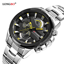 цены на 2018 LONGBO Fashion Watch Men Stainless Steel Band Sports Wristwatch Luxury Casual Quartz Watch Male Clock Relogio Masculino  в интернет-магазинах