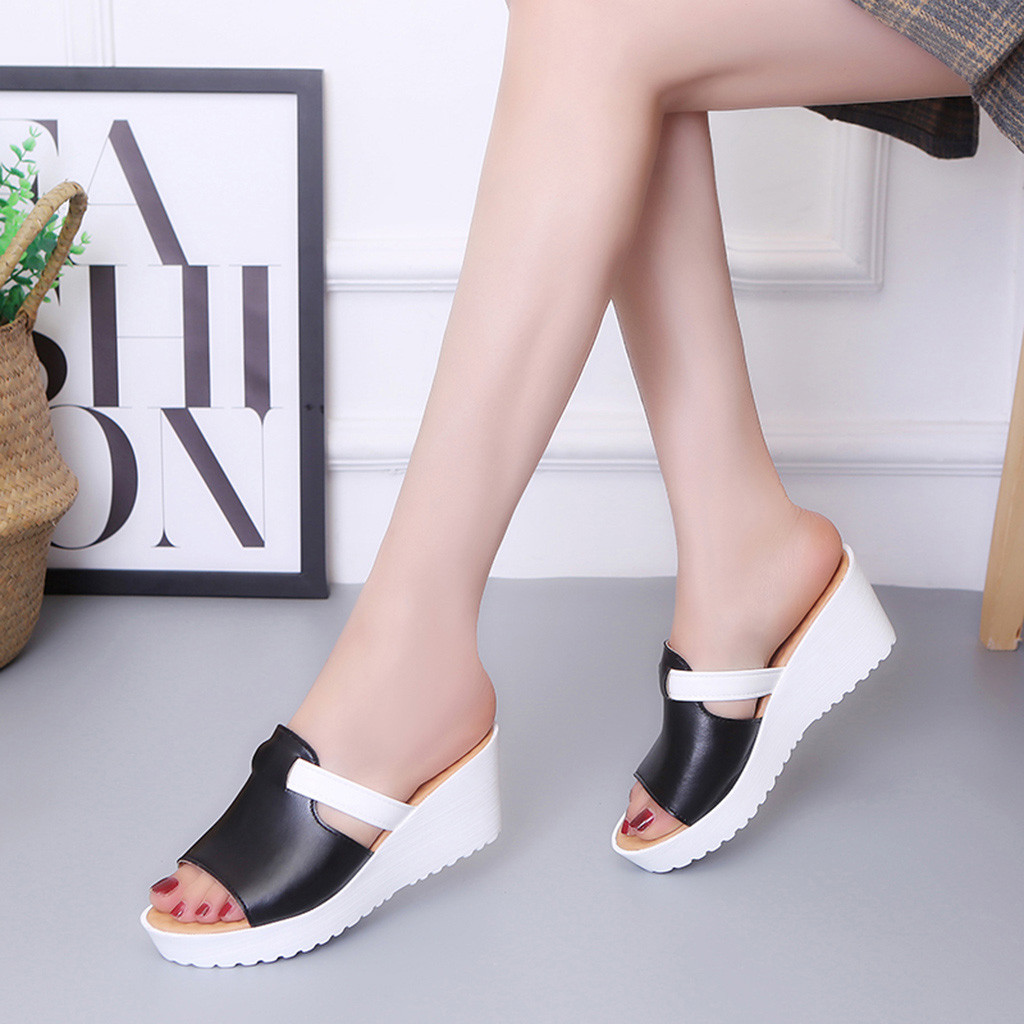 Wedges Sandals Shoes Platforms Outdoor-Slippers Slip-On Peep-Toe Women Candy-Color Casual