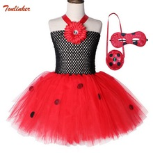 Girls Cosplay Ladybug Tutu Dress up Halloween Animal Ladybird Fancy Party Costume With Mask For Tollder Kids Clothes Red 2019