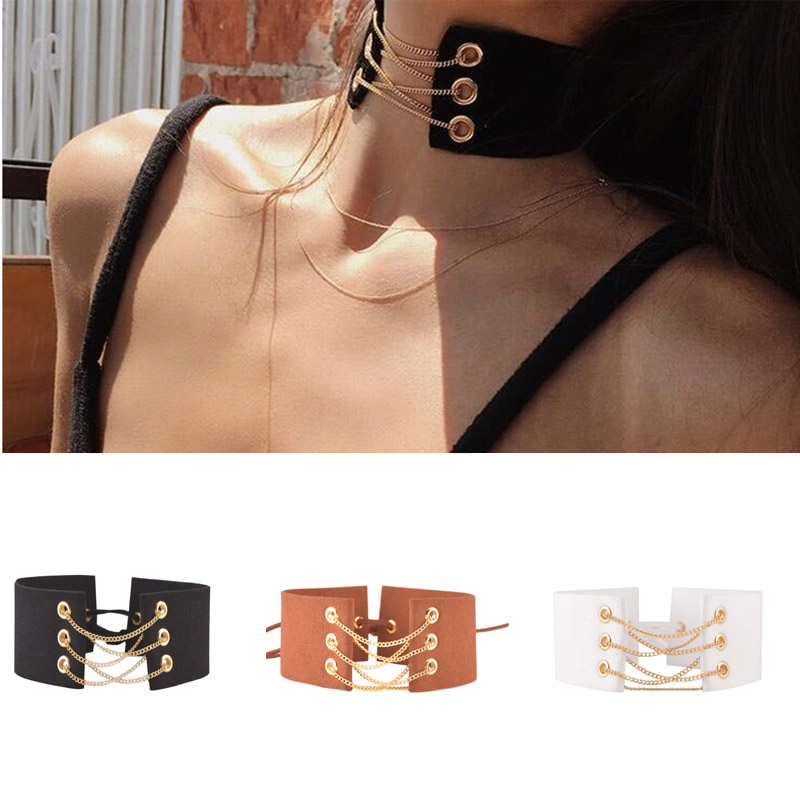 Hot Newest fashion accessories Velvet Choker Necklace width and gold  chain Tie Up for couple lovers'  N206