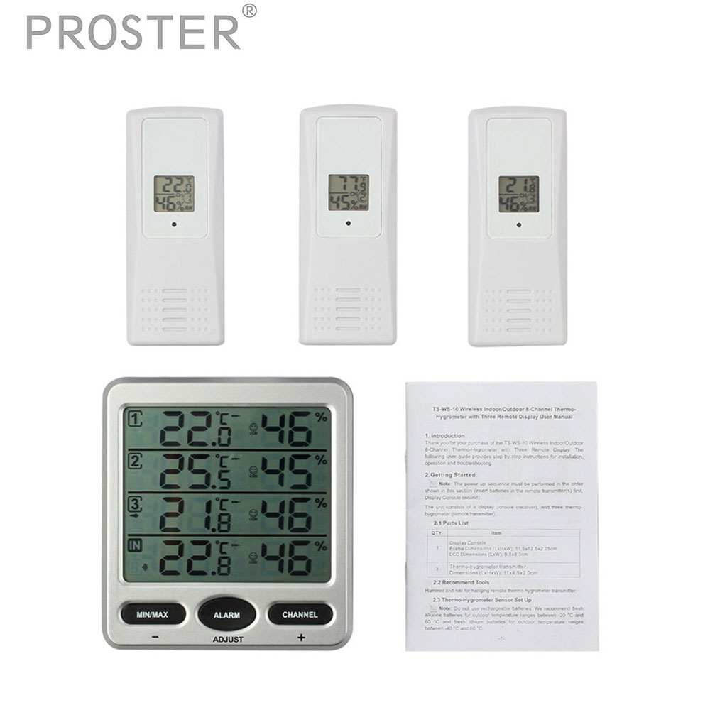Digital Thermometer Hygrometer Weather Station With 3 sensors 8 Channel Temperature Large LCD Display Max Min Value Alarm Meter digital thermometer hygrometer temperature humidity meter alarm clock max min value comfort level display