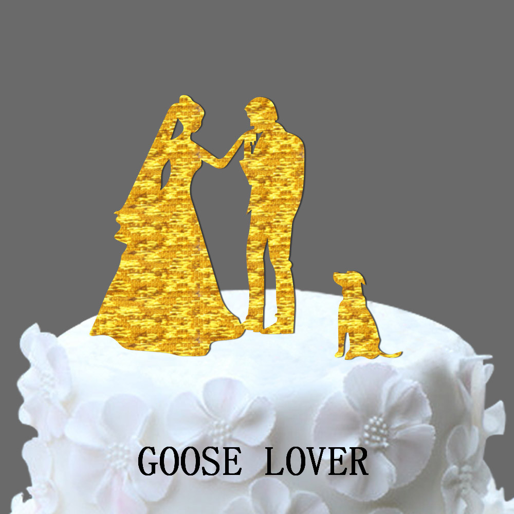 WITH DOG Wedding Cake Topper Silhouette, Funny Wedding Cake Topper ...
