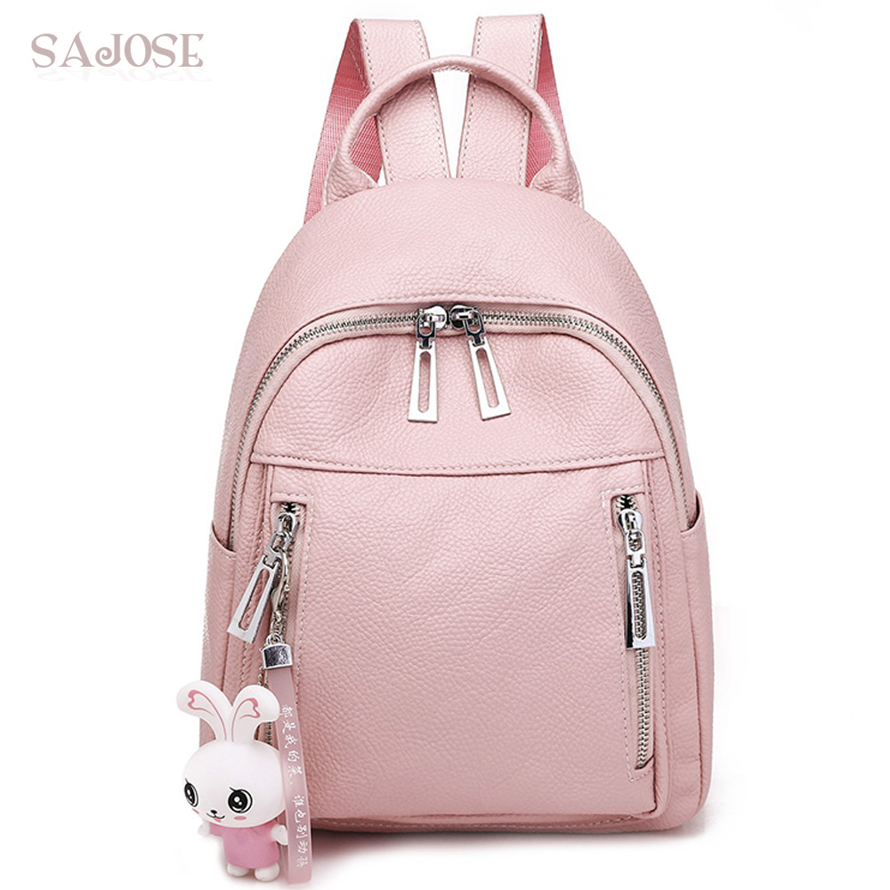 Women Fashion Leather Backpack School Backpacks for Teenage Girls High Quality Lady Pink Rabbit Pendant Student Shoulder Bag vans wm realm backpack pink lady ph