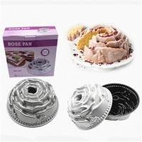 New Arrival Rose Flower Cake Pan Heavy Cast Aluminum Kitchen Bakeware Metal Cake Baking Form DIY Baking Dish Nonstick Cake Mold