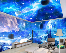 beibehang Dream Fashion Personality Interior papel de parede Wallpaper Blue Cosmic Moon Space Theme Space 3D Background behang beibehang fashion personality waterproof material pvc papel de parede 3d wallpaper pink flower elegant 3d fashion floor behang