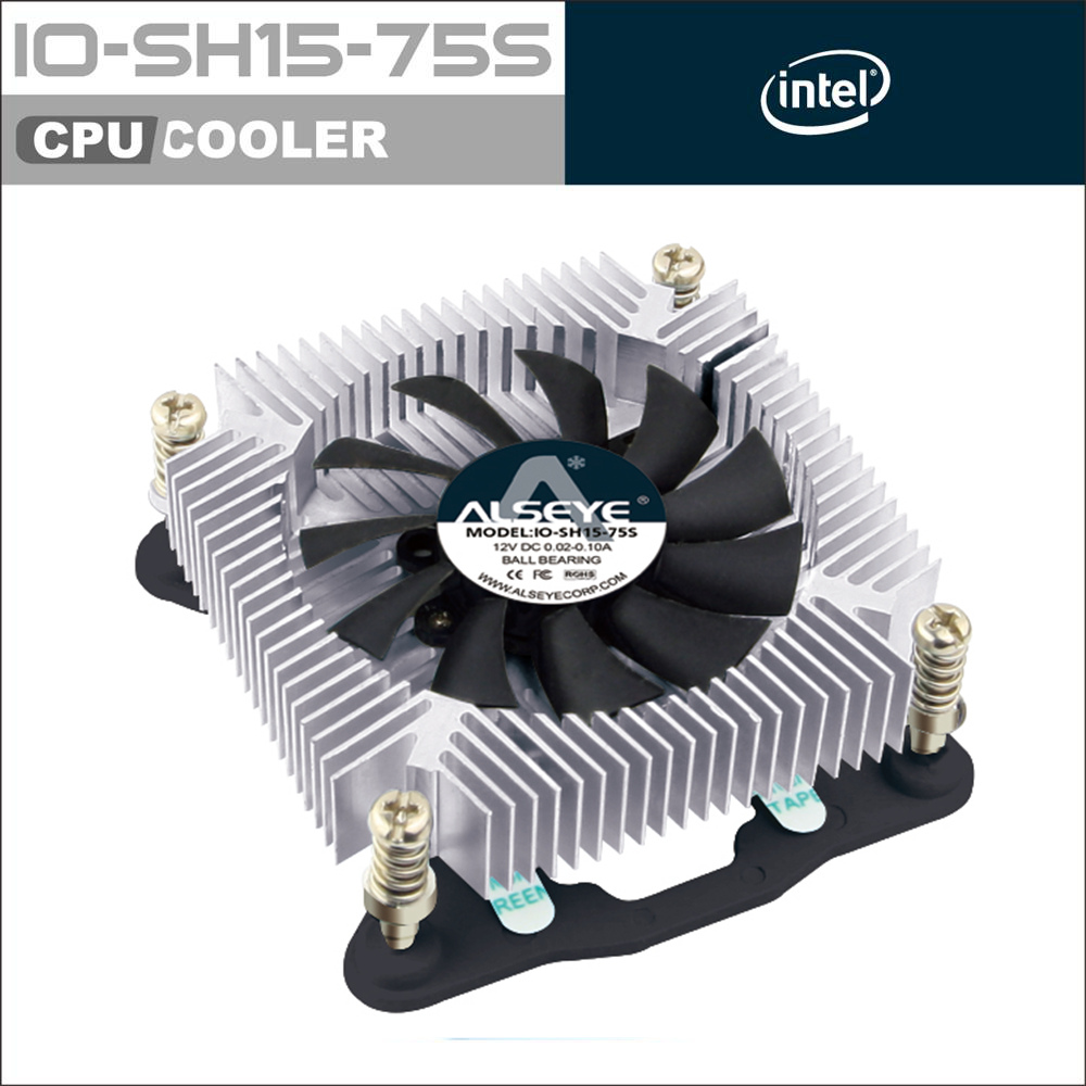 AlSEYE IO-SH15-75S Aluminum heatsink CPU cooler with 4pin PWM fan 1500-3500 RPM cooling fan for computer 12v 2 pin 55mm graphics cards cooler fan laptop cpu cooling fan cooler radiator for pc computer notebook aluminum gold heatsink