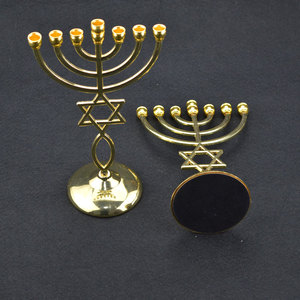 Image 4 - Jerusalem Menorah With Star of David Messianic Menora of brass