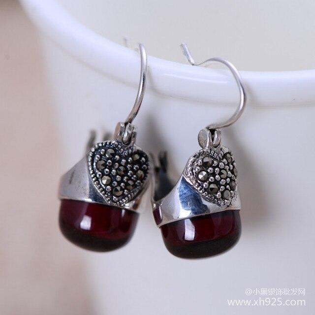 Black silver jewelry wholesale 925 sterling silver jewelry Garnet Earrings small love female models 023249w
