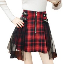 Women Vintage Plaid Mini Skirt Plus Size Gothic Patchwork Mesh Fashion Summer Streetwear School A Line High Waist Skirts Girl