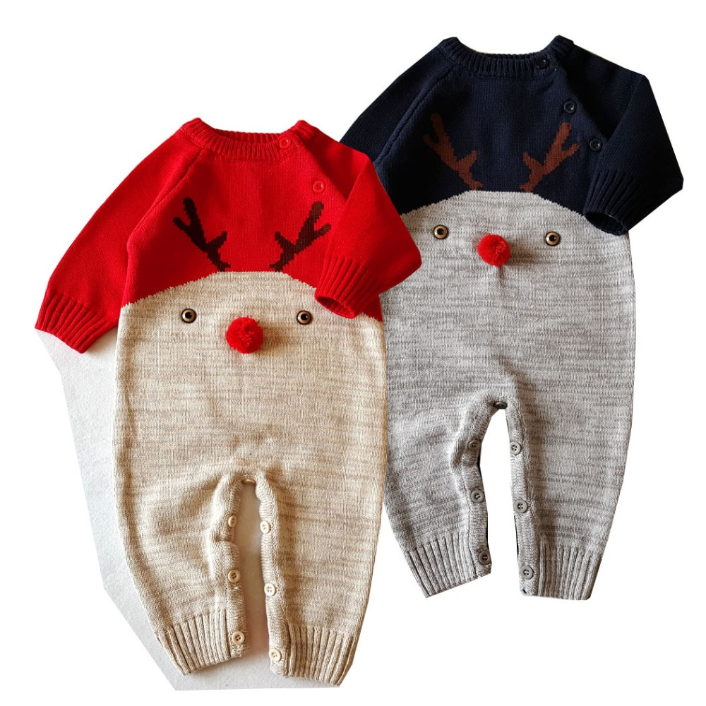 2017 Autumn Christmas elk girls boys weave love cartoon dear rompers newborn weave jumpers children climbing sweater 17S907