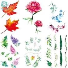 Rocooart RC476-498 New Water Proof Temporary Tattoo Stickers Cartoon Coloful Ink Flowers Leaf Fake Flash Taty tatouage