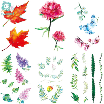 Rocooart RC476-498 New Water Proof Temporary Tattoo Stickers Cartoon Coloful Ink Flowers Leaf Fake Flash Taty Tattoo tatouage