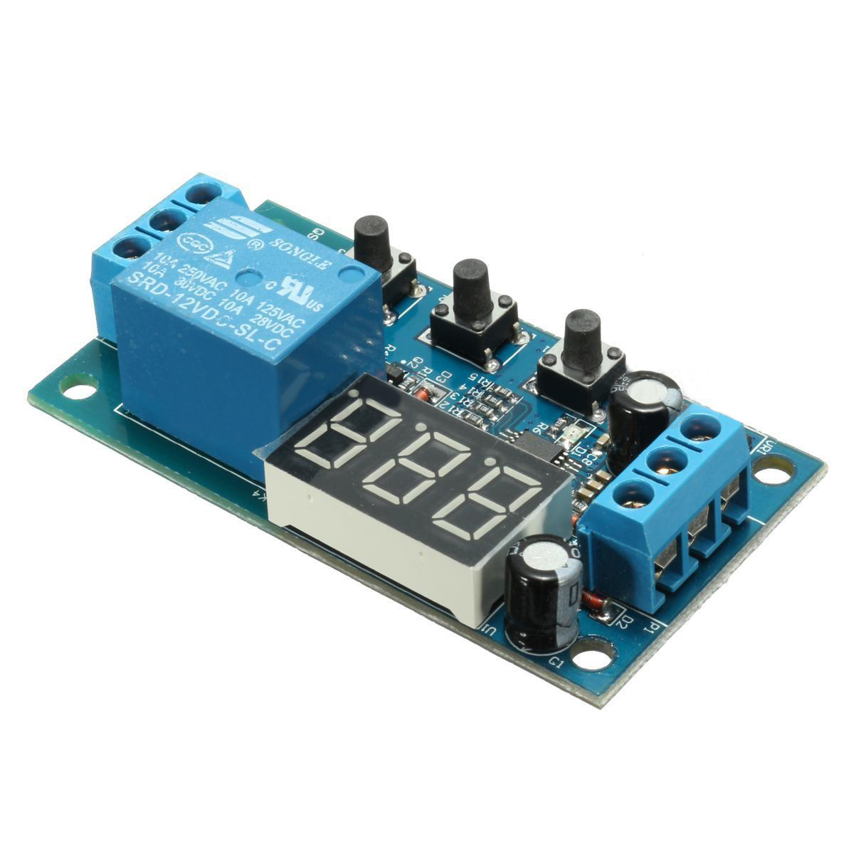 1pc Multifunction Time Delay Relay Module 12V Digital Display Trigger Cycle Switch Module Control Circuit 12v timing delay relay module cycle timer digital led dual display 0 999 hours