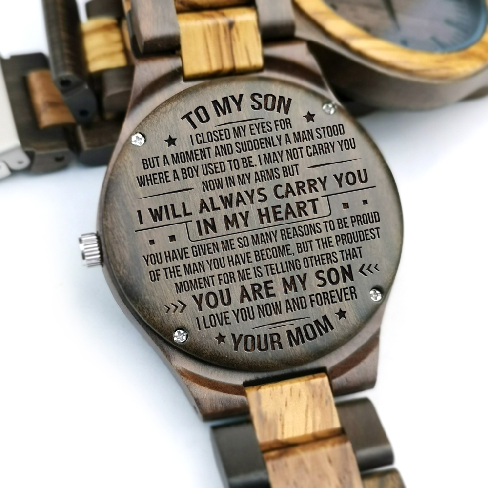 d17061786997 I LOVE YOU NOW AND FOREVER FROM MOM TO SON ENGRAVED WOODEN WATCH-in Lover s