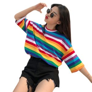Женская футболка с коротким рукавом размера плюс, Радужная, контрастная, с принтом в полоску