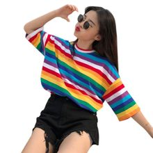 Women Girls Plus Size Half Sleeves Harajuku T-Shirt Rainbow Contrast Colored Cross Stripes Printed shirt Oversized Loose Pullov