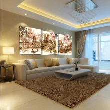 No Frame 3pcs Canvas Retro City Street Rose Landscape 3 Piece Modern Style Pictures Decorative Wall Art Prints Gift