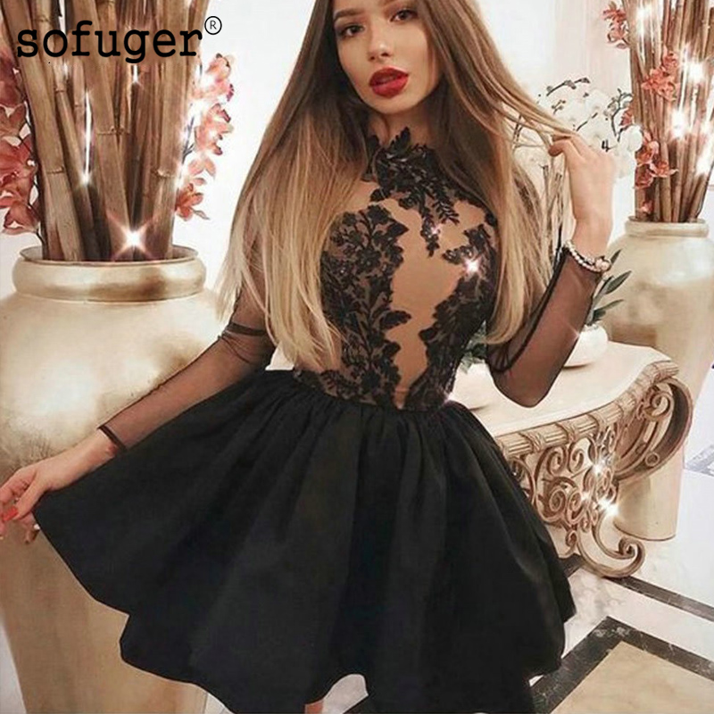Black Short Prom Dress Tiered 2019 O Neck Long Sleeves Party Gown Illusion Back Elegant vestidos de festa Homecoming Gown
