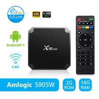 X96 mini Android 7,1 2GB 16GB Dispositivo de TV inteligente Amlogic S905W WiFi Quad Core 2,4 GHz X96mini Set top box 4K HD Set-top Box