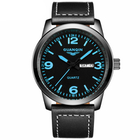 GUANQIN GS19036 New Fashion Mens Watches Top Brand Luxury Quartz Watch Men Military Sport Leather Strap