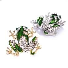 New Fashion Rhinestone Green Frog Brooch Unisex Cute Animal Brooch Pin Women Men Dress Coat Accessories High Quality Ornament(China)