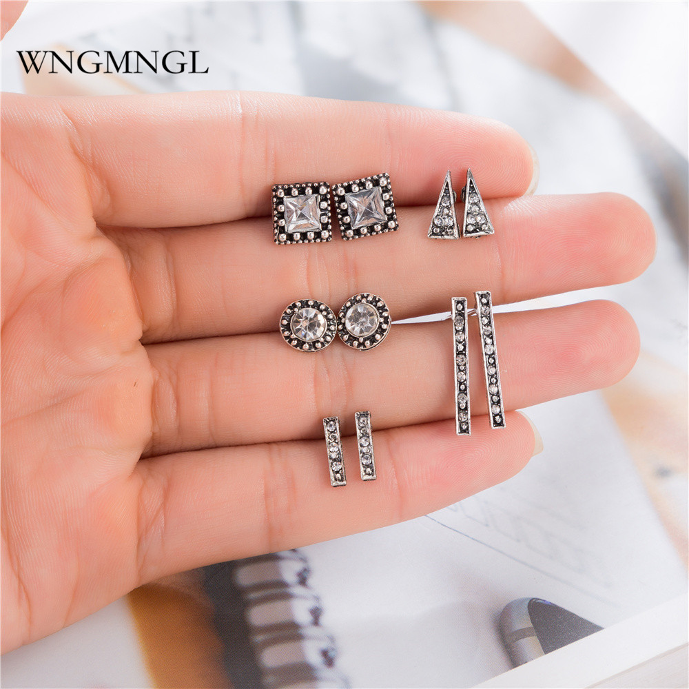 WNGMNGL 5 Pairs/Set 2018 New Bohemian Vintage Antique Silver Color Crystal Geometric Stud Earrings Set For Women Jewelry Gifts