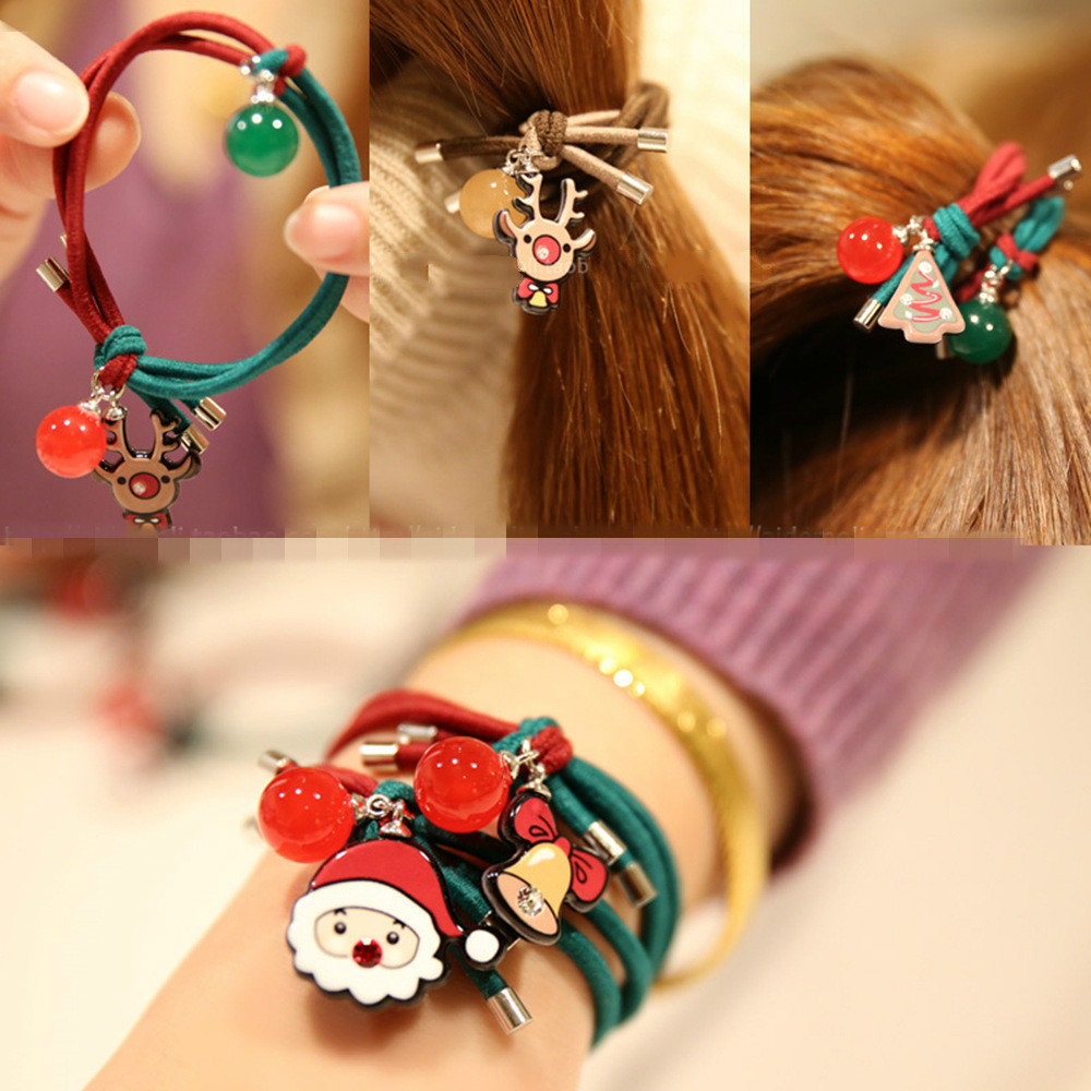 United States Christmas Ornaments Part - 48: Europe And The United States Christmas Claus Bell Ring Deer Hair Knot Color  Ball Red Hair Ring Christmas Ornaments