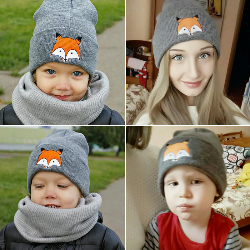 57d8a064c6e Dropwow iMucci Cute Fox Winter Wool Hat Women Black Grey White Men ...