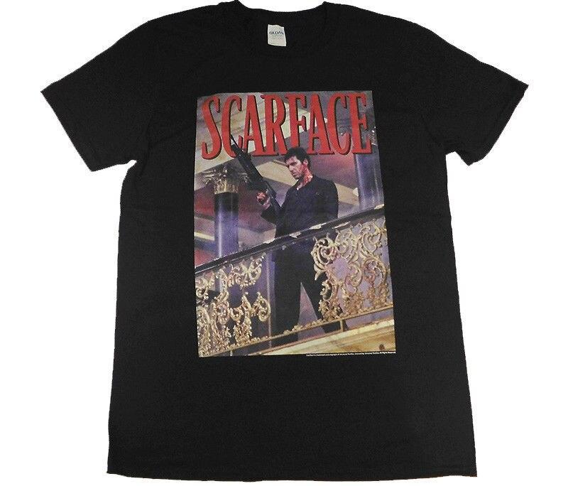 SCARFACE перила выстрел официальный оснащены Джерси футболка мужская небольшой новый 2018 хлопковая футболка с короткими рукавами китайский Сти...
