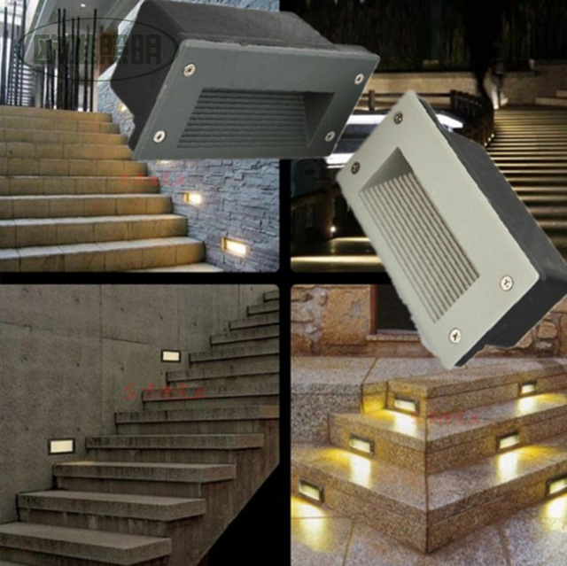 8pcslot outdoor 3w led stairs recessed wall light led step lamp led 8pcslot outdoor 3w led stairs recessed wall light led step lamp led waterproof ip67 mozeypictures Gallery