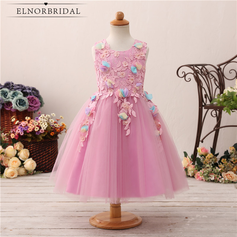 Pink   Flower     Girl     Dresses   2018 Lace Tulle First Communion   Dress   Little   Girls   Kids Wedding Party Gowns Robe Mariage Enfant