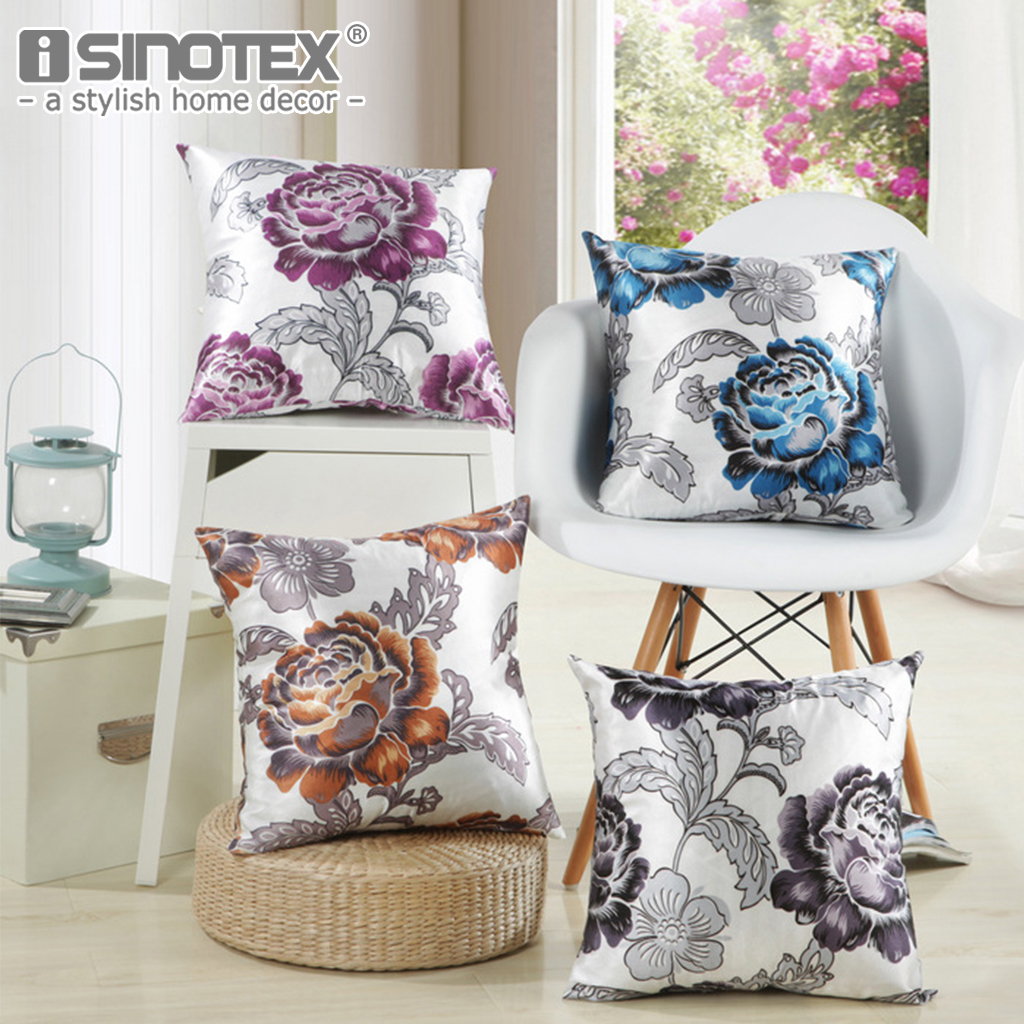 Polyester Cushion Cover Pillowcases Pillow Case Floral Patterns Christmas Gift Decoration Home Sofa Living Room 43x43CM 1 PCS