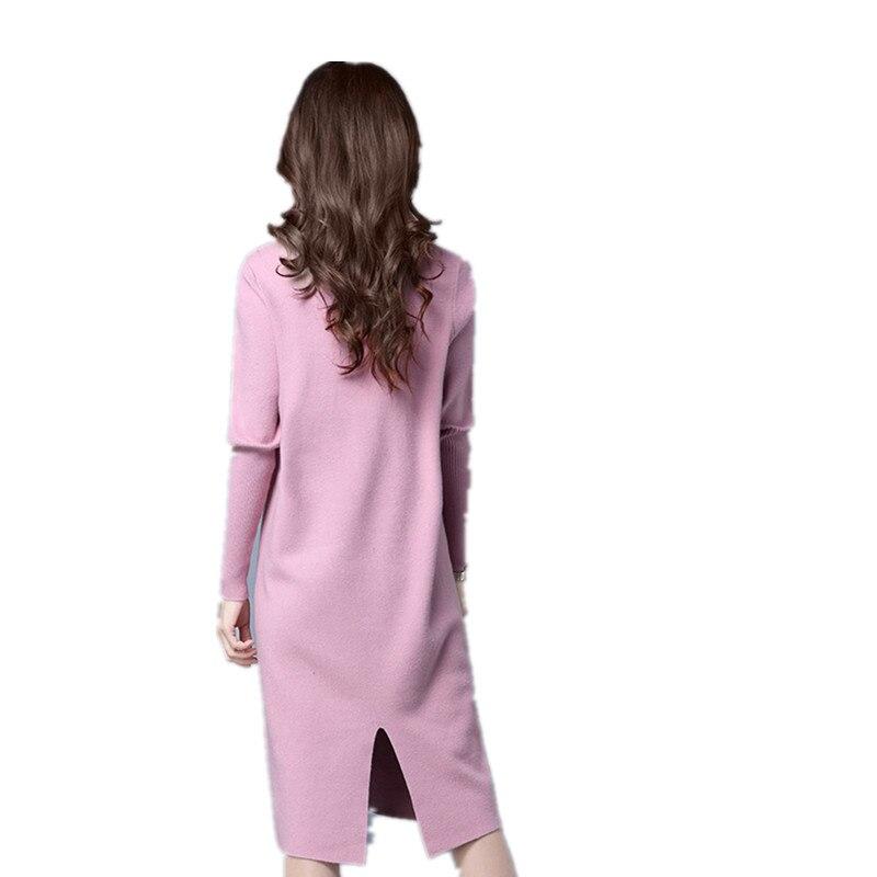 Basant Femmes Scission Hanche Hiver Aishgwbsj Long Dress Chemise rouge Paquet rose Ll011 Coréen Haut gris Lâche col Noir Paragraphe La Tricoté Demi O5qq7Pxg