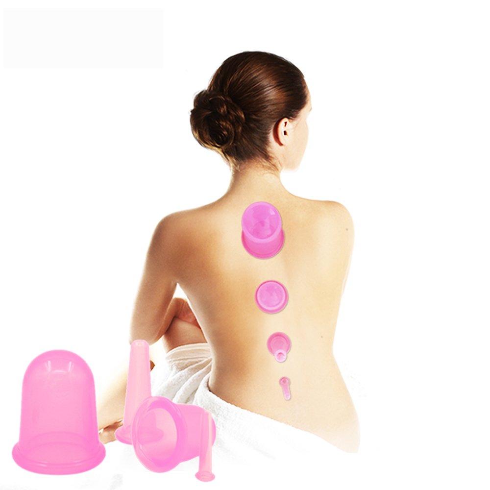 4Pcs/set Health Care Body Anti Cellulite Silicone Vacuum Cupping Cups Neck Face Back Eye Home Use Massage Cupping sets 4pcs body anti aging effect suction silicone massage cupping therapy improving skin health anti cellulite cups small size
