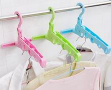 2PCS Multifunction Space Saving Folding Clothes Hanger Clothing Drying Rack Plastic Hook folding hangers Foldable Travel Hangers