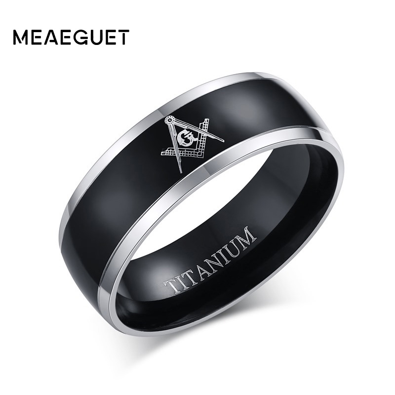 Meaeguet 8mm Black Masonic Titanium Rings For Men Male Jewelry Classic Freemasonry Wedding Bands