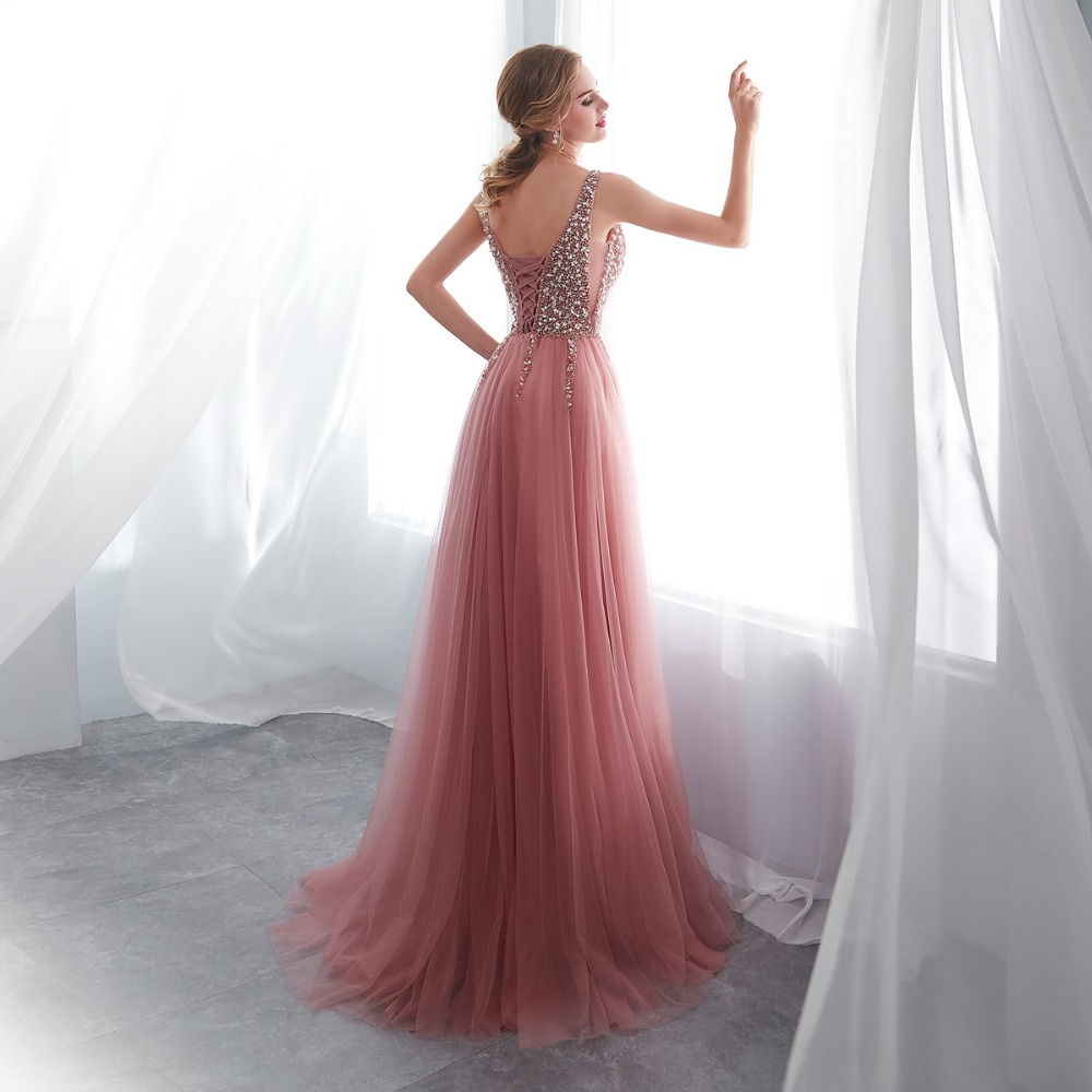Beading Prom Dresses 2019 V neck Pink High Split Tulle Sweep Train Sleeveless Evening Gown A