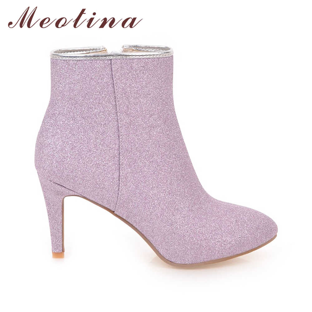 ... Meotina Women Ankle Boots Warm Winter Boots Zip Ladies Thin High Heel  Boots Shoes Bling Sexy ... 92da068f426b