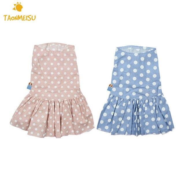 709fceb27 High Quality Summer Linen Cute Dotted Pet Dog Puppy Princess Dress ...